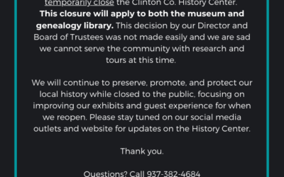 Reminder: History Center Closed For COVID-19