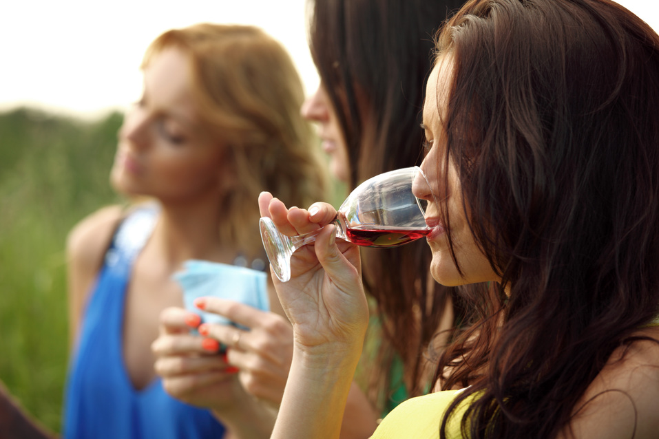 girl drink wine