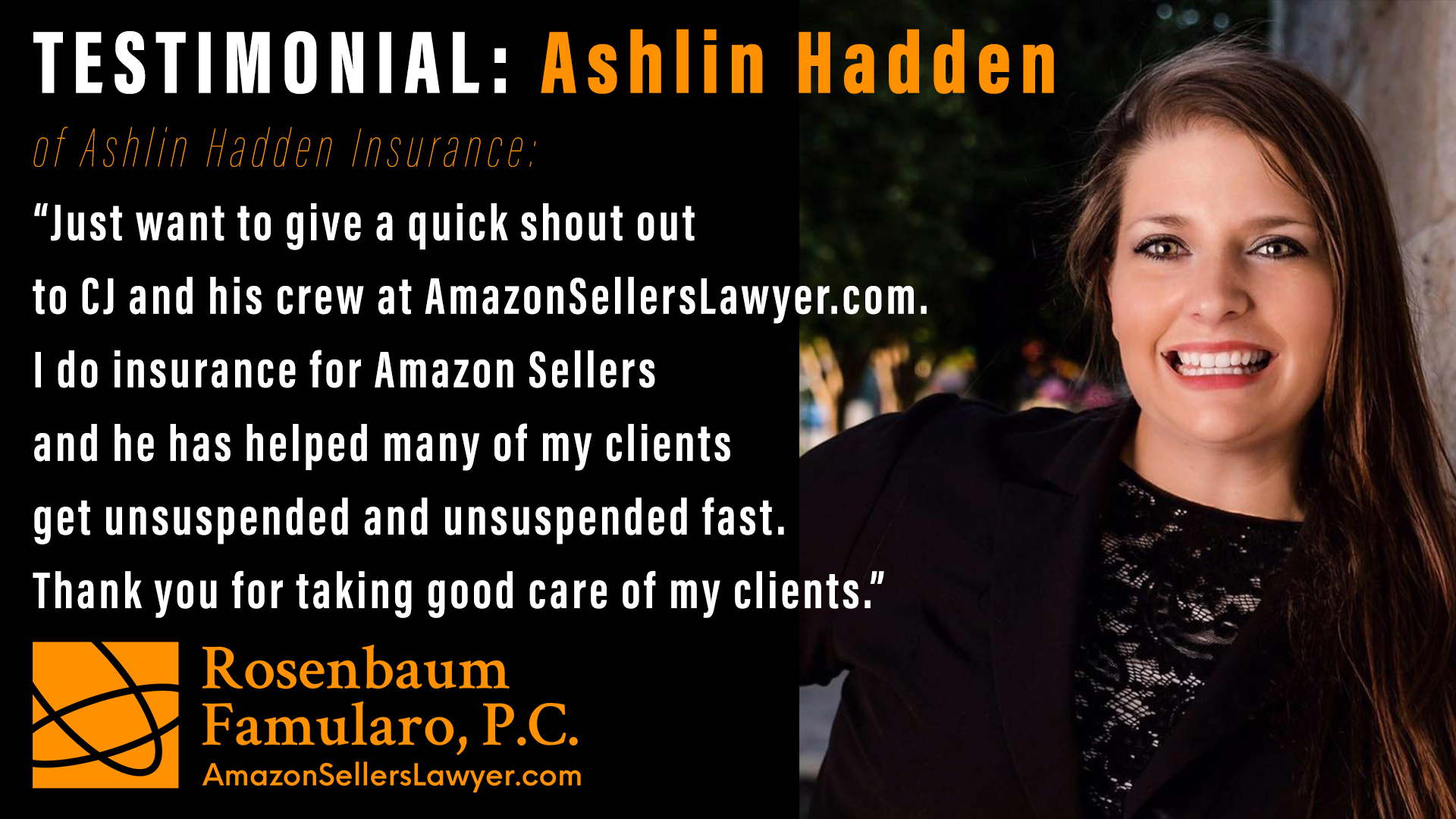 Testimonial - Ashlin Hadden Insurance -insurance for Amazon Sellers