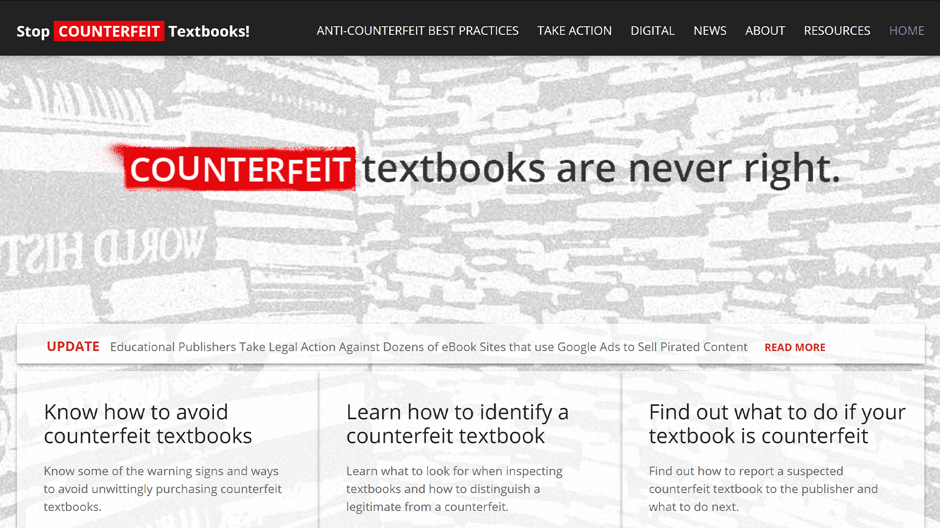 stop counterfeit books