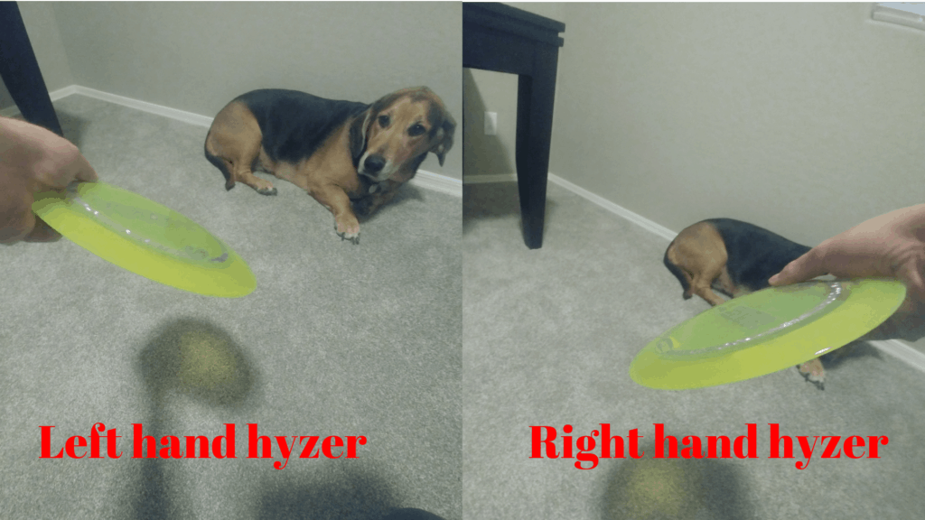 hyzer in disc golf with left and right hand backhand