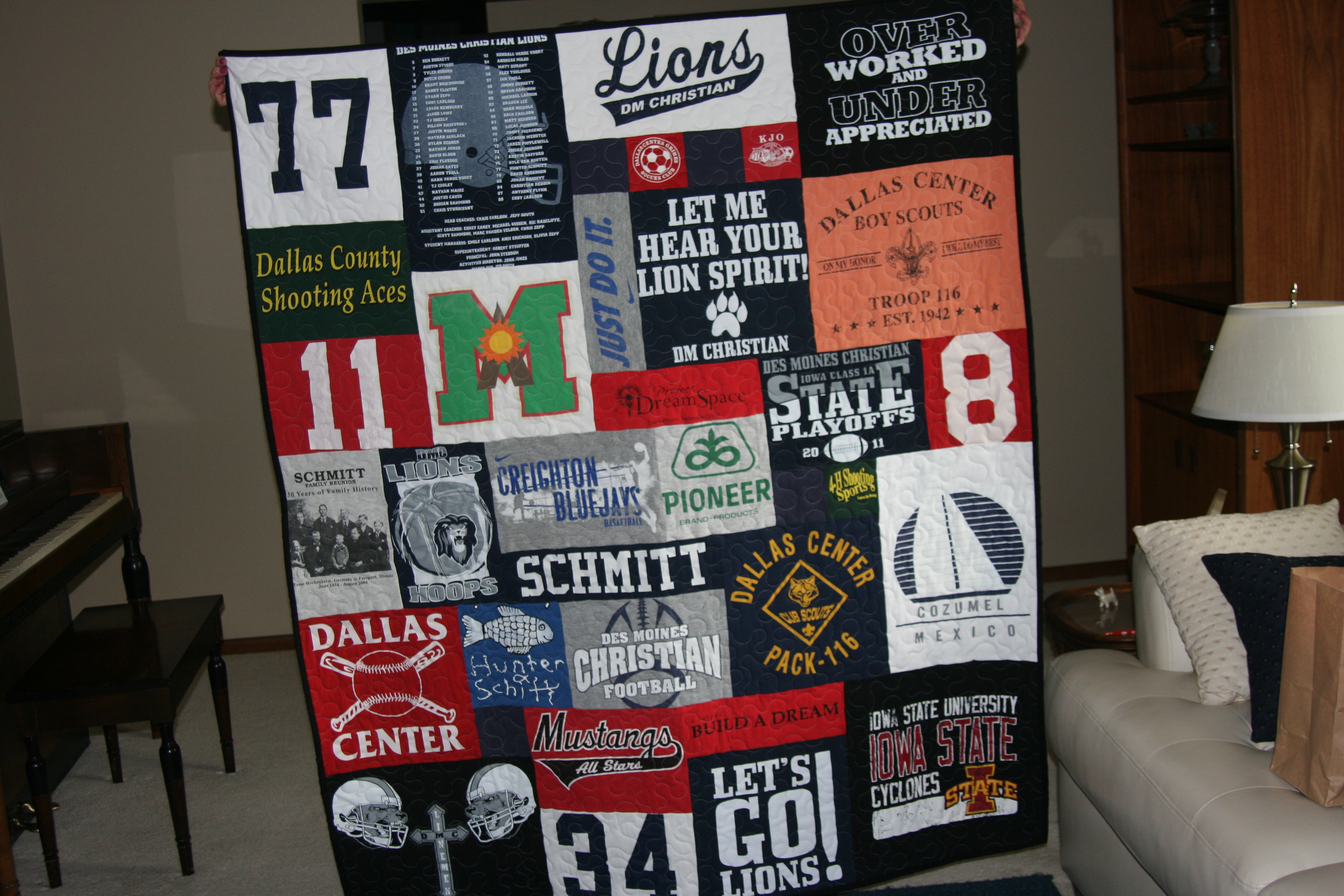 T-shirt quilts are just as popular with boys as girls.