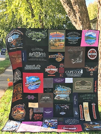 Well traveled keepsake made from Harley Davidson T-shirts.