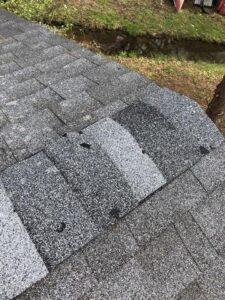 ridge cap hail damage, stl hail damage, what does hail damage look like