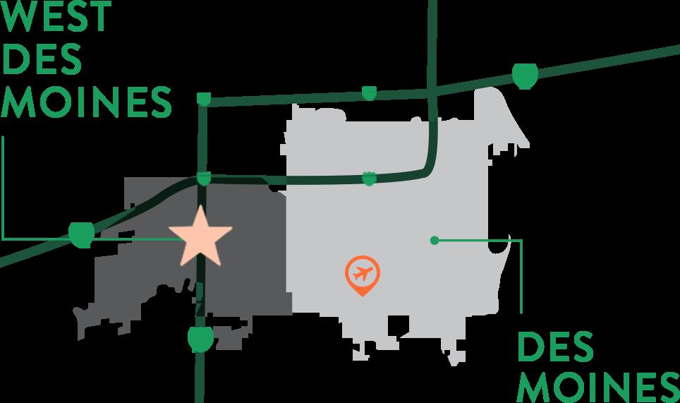GoWest Des Moines Map