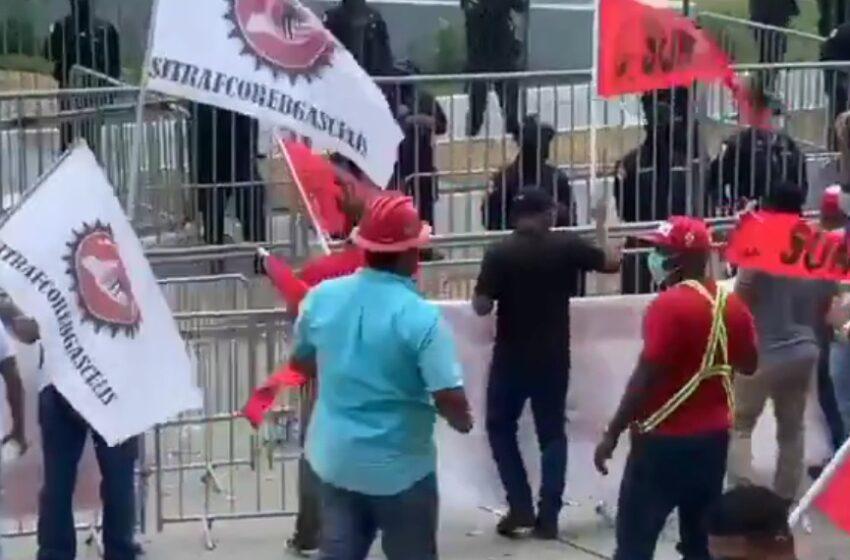 Protestan en las inmediaciones del Parlamento Latinoaméricano y Caribeño
