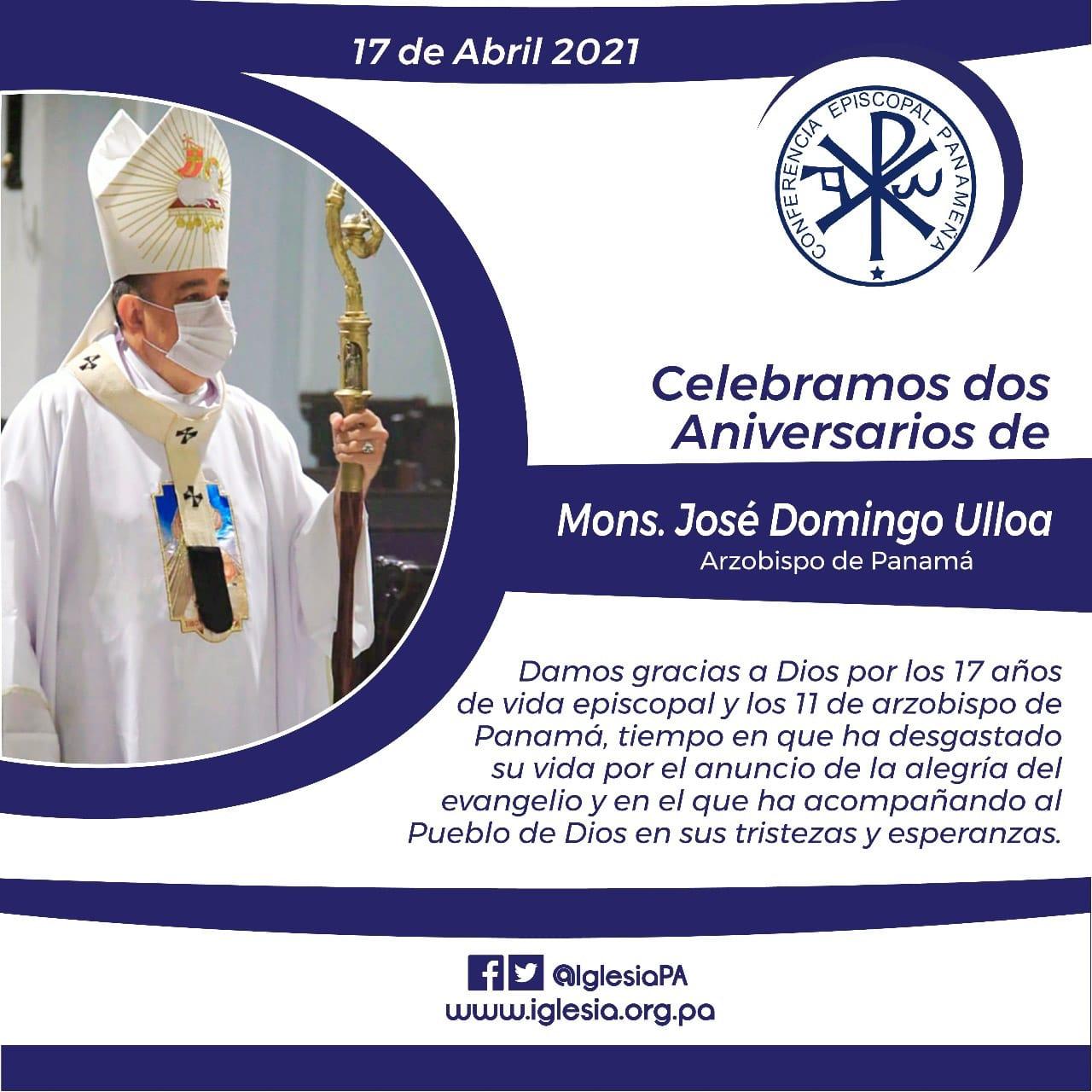 Feliz aniversario a Monseñor José Domingo Ulloa