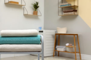 A neat and organized laundry room