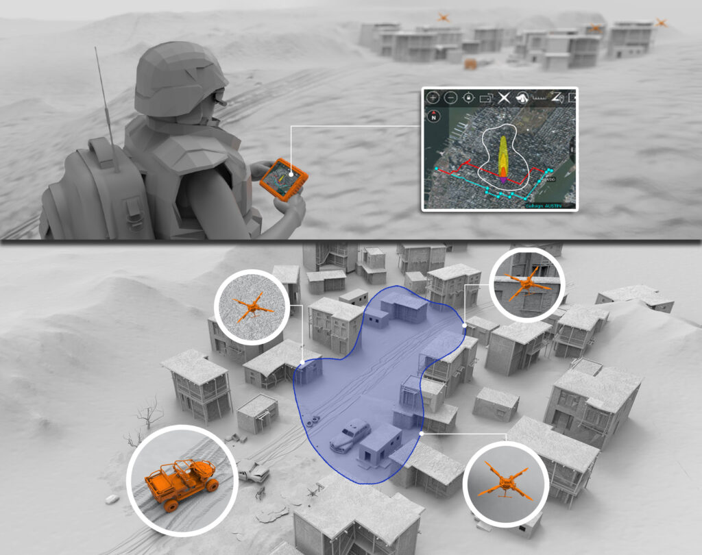 Soldier holding mobile device with MPMS-TAK plugin viewing a potential chemical or biological threat using unmanned robotic assets.