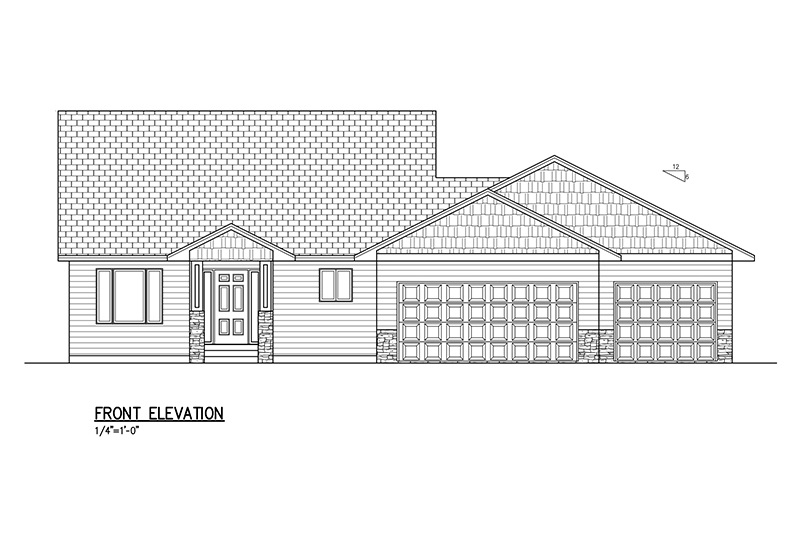 1390 SF Multi Level Floor Plan, 3 Bed, 2 Bath, 3 Car