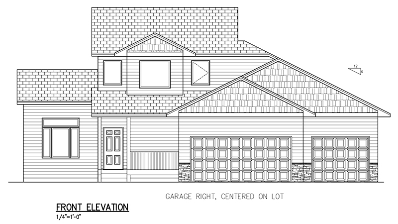 1447 SF Two Story Home Floor Plans, 3 Bed, 2.5 Bath, 3 Car.