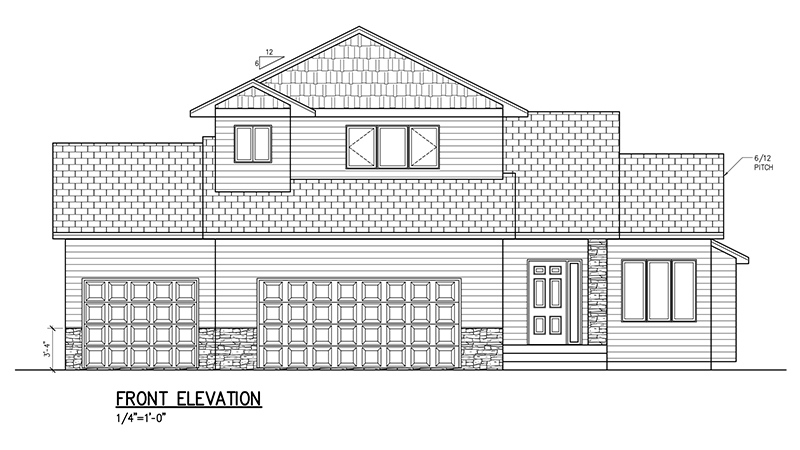 1874 SF Two Story Floor Plan, 3 Bed, 2.5 Bath, 3 Car.
