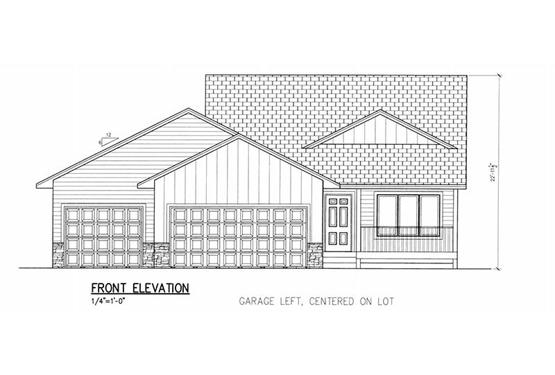 993 SF Multi Level Floor Plan, 2 Bed, 1 Bath, 3 Car floor plan.
