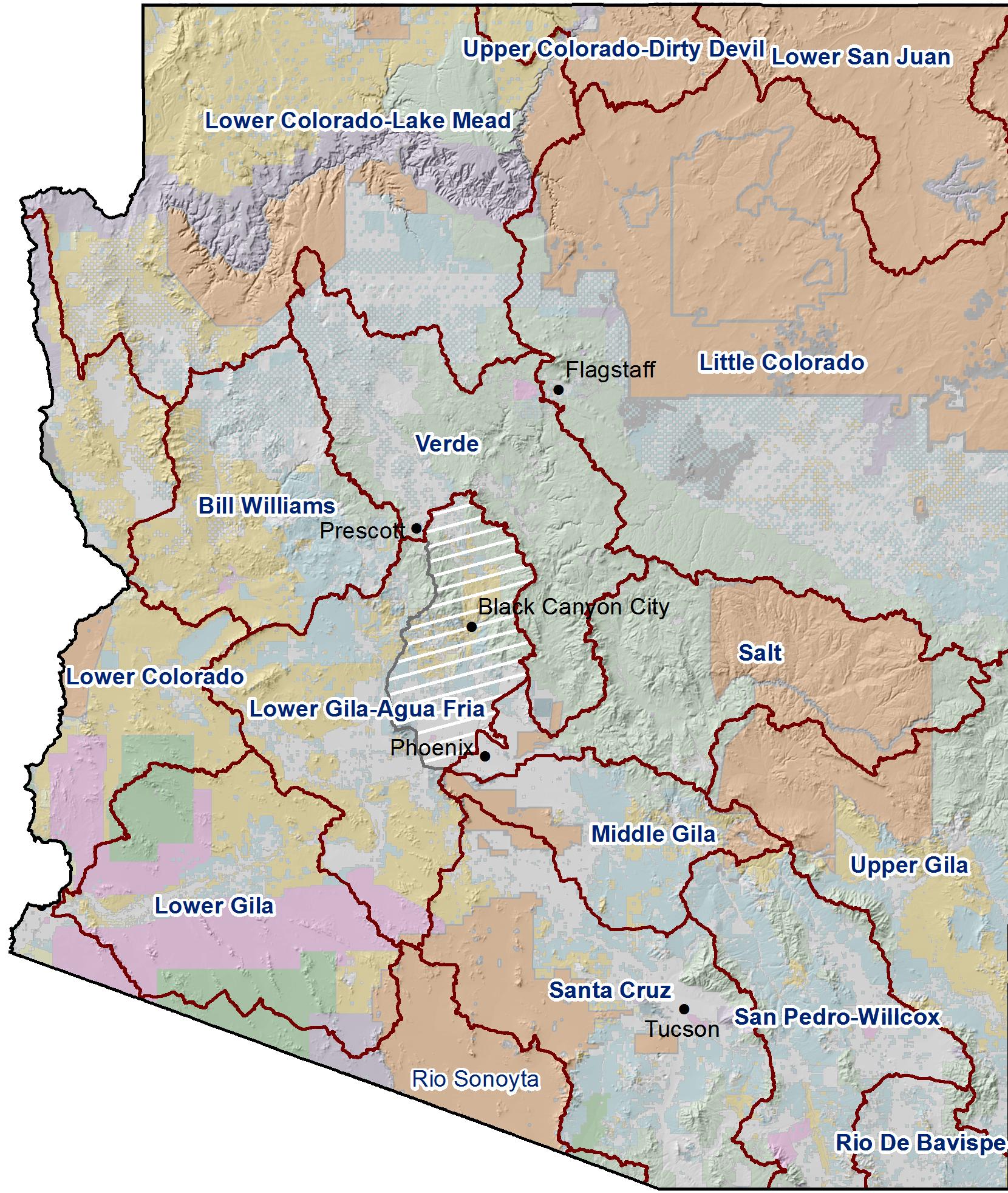 16 Watersheds of Arizona - HUC 6