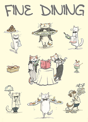 fine dining cards for cat lovers