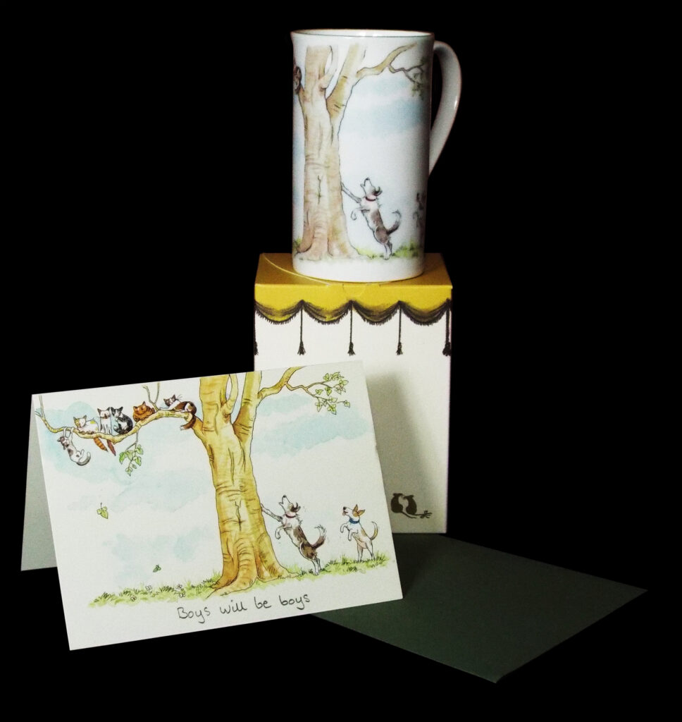 card and mug gift for cat lovers