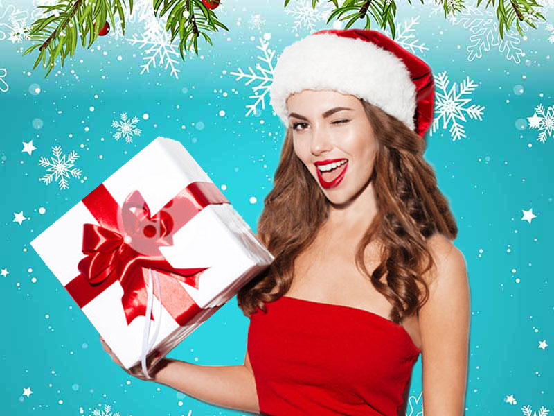 hot sexy girl giving cheap christmas gift wink winking smiling