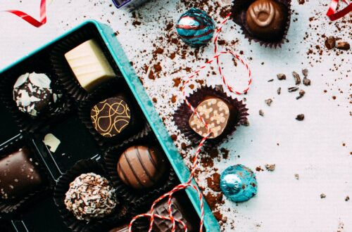 Teal box of chocolates
