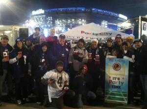 The Fan Van Party Bus is the Party City Tailgate of the Day.  Pictures was on the Jumbotron
