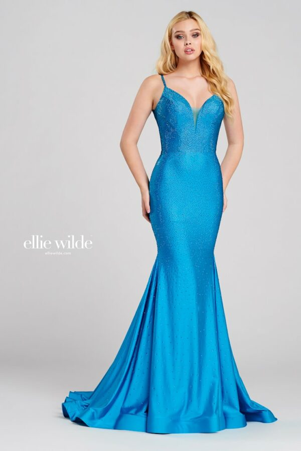stretch fit and flare beaded prom dress in jade