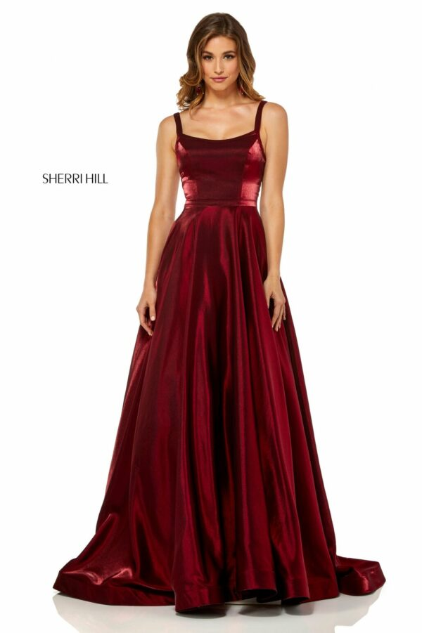 wine prom dress with scoop neckline