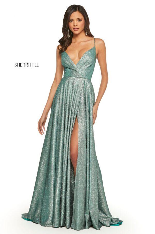 aqua glitter aline prom dress