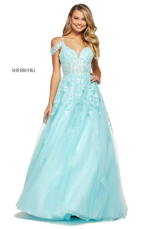 light blue tulle ballgown