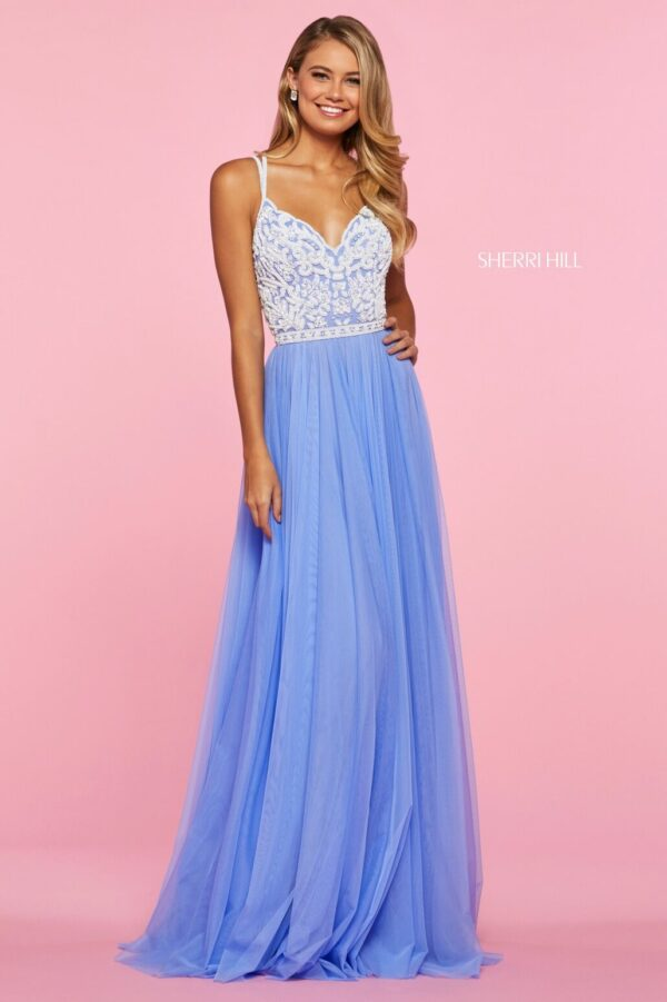 blue chiffon aline prom dress with beaded bodice