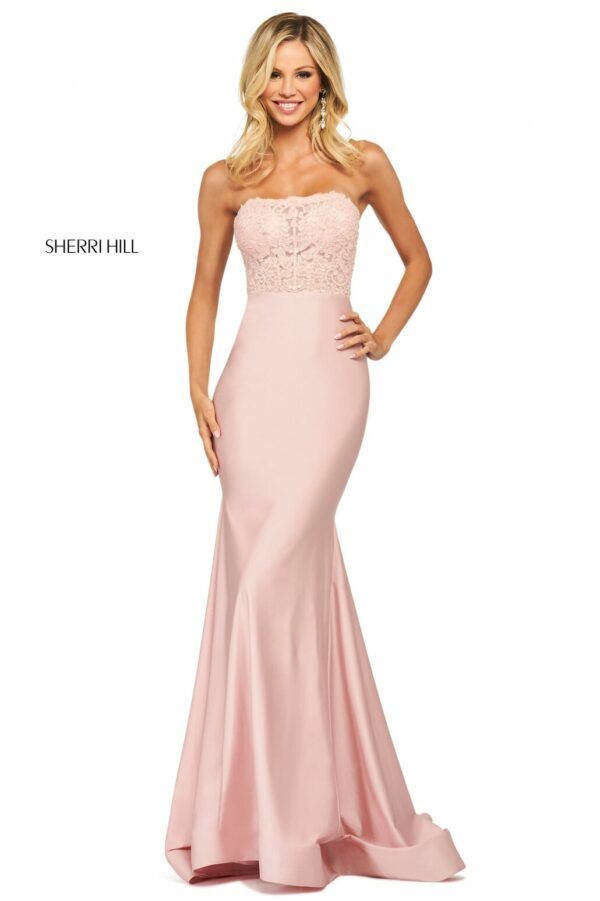 pink fitted strapless prom dress
