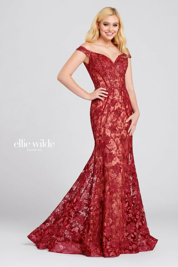 lace red off the shoulder prom dress