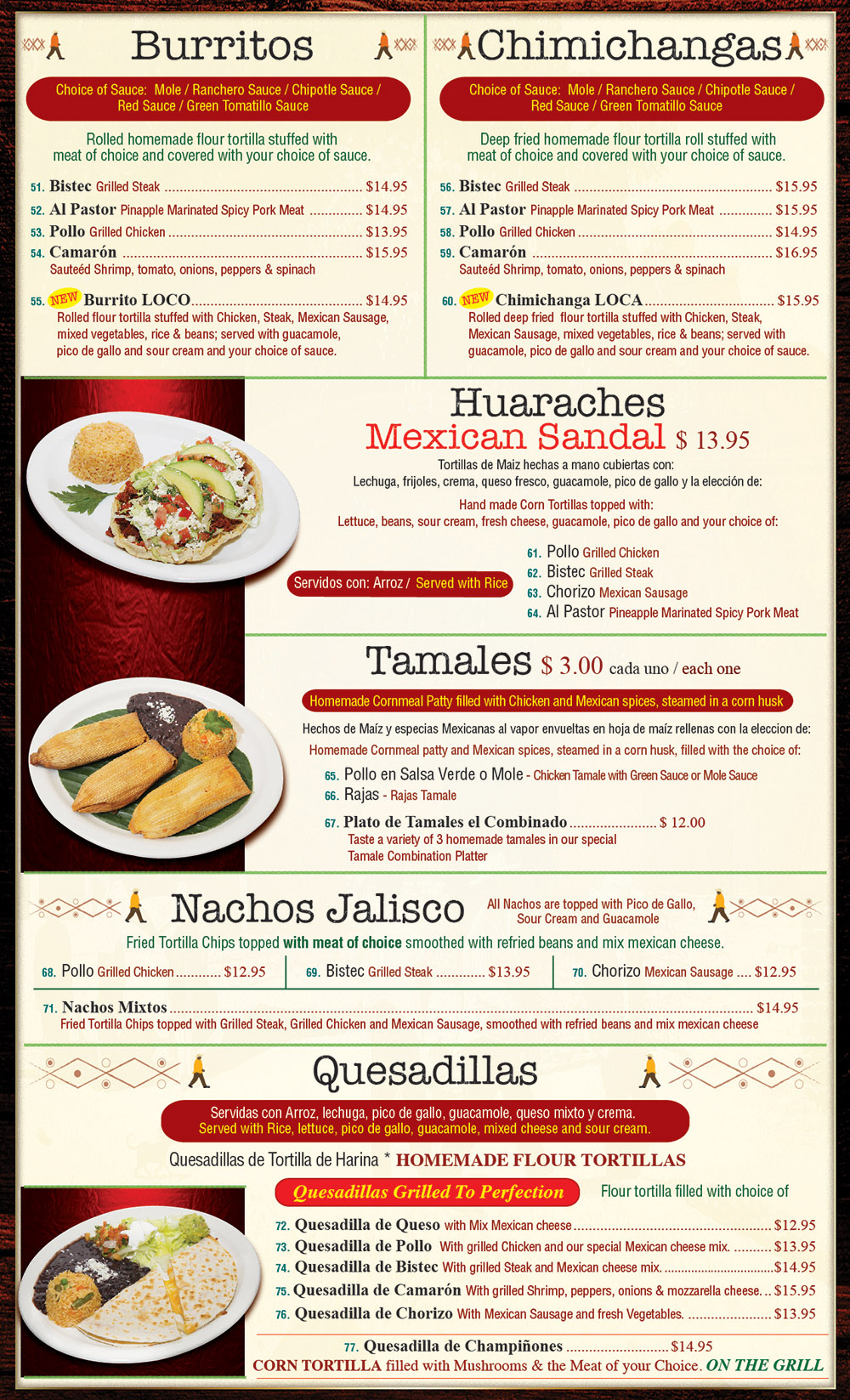 Plaza Tapatia Asbury Park NJ Menu Page 3