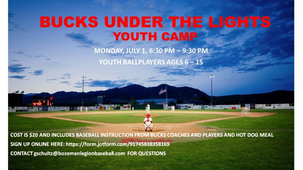 Bucks Host Youth Under the Lights Camp July 1st, 6:30 - 9:30 p.m.