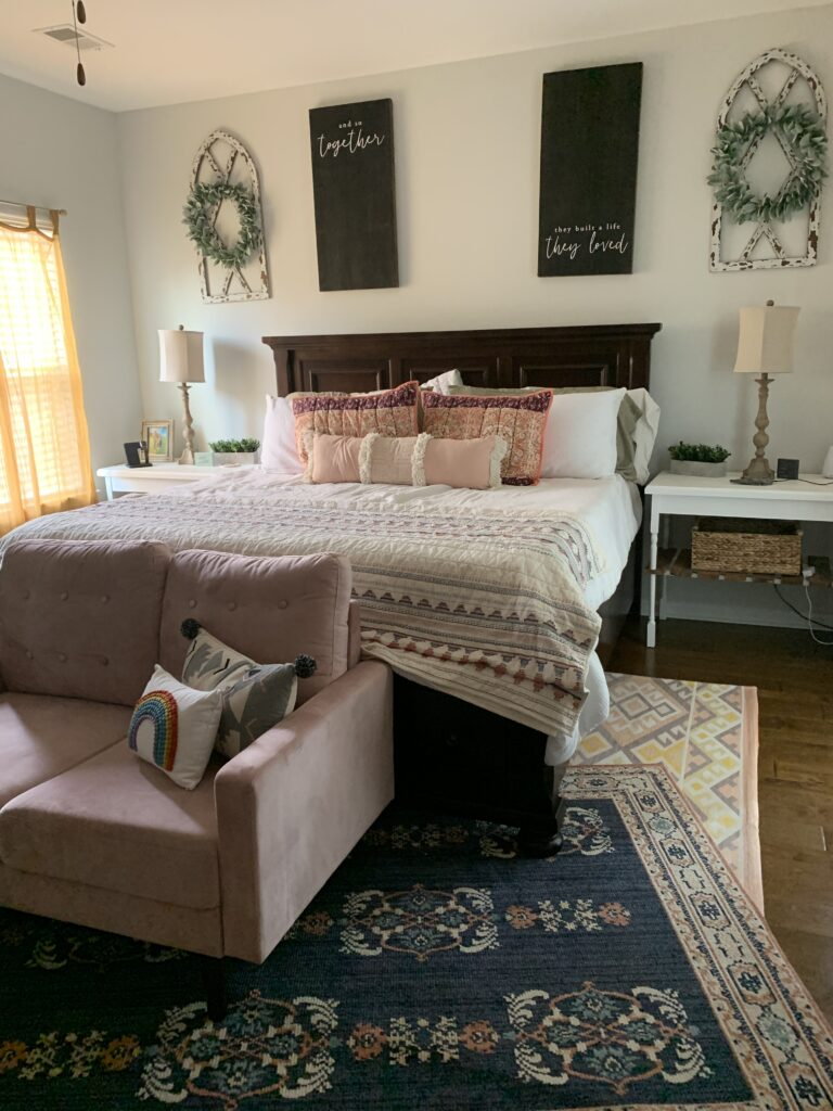 the view from home, setting schedules and routines, home school, coronavirus, social distancing, covid-19, boho master bedroom