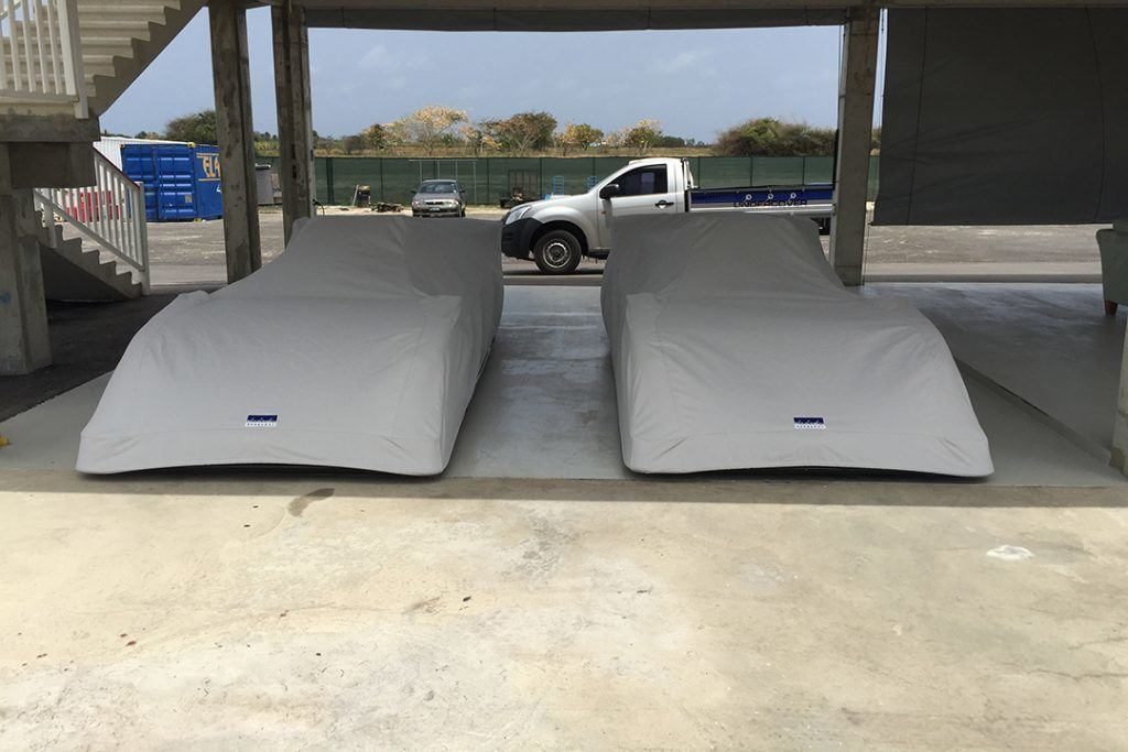 Two custom made canvas full car covers