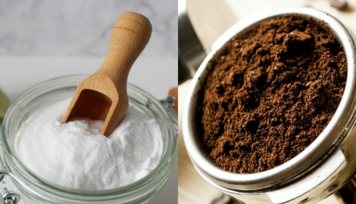 A side by side photo of coffee grounds and baking soda.