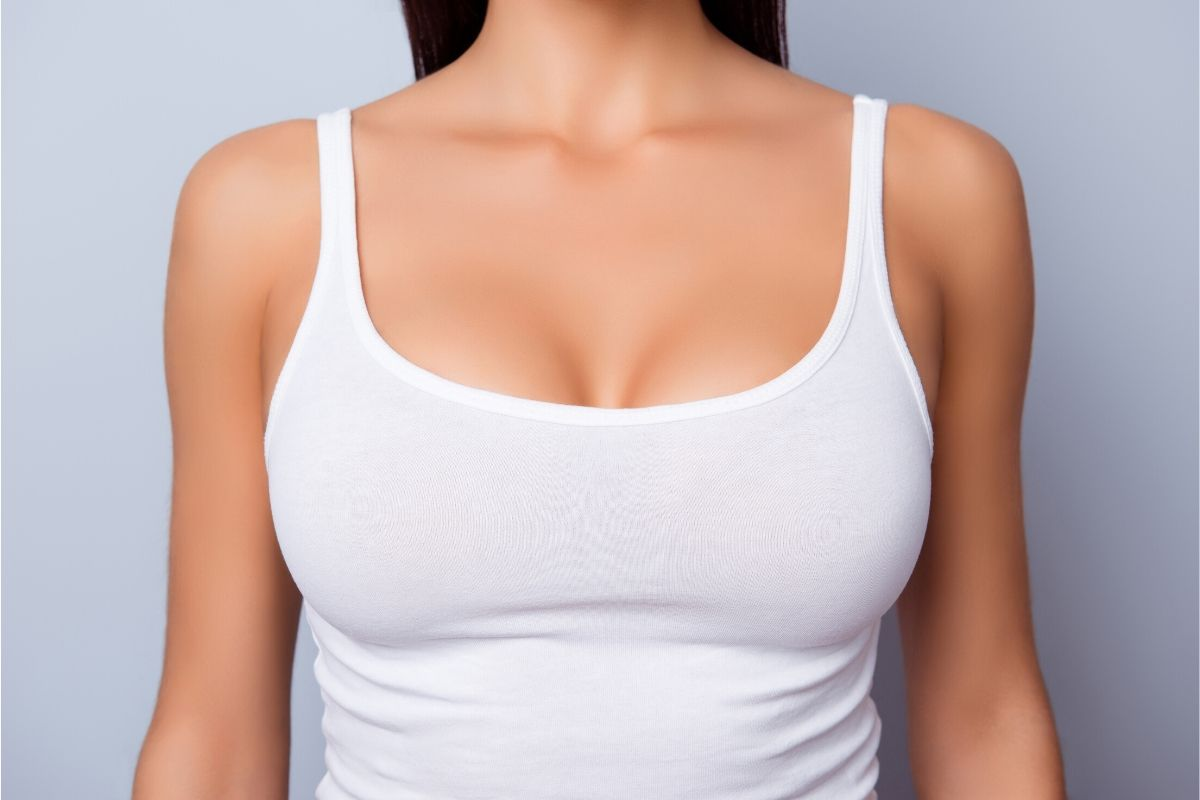 A woman with a large breast size.