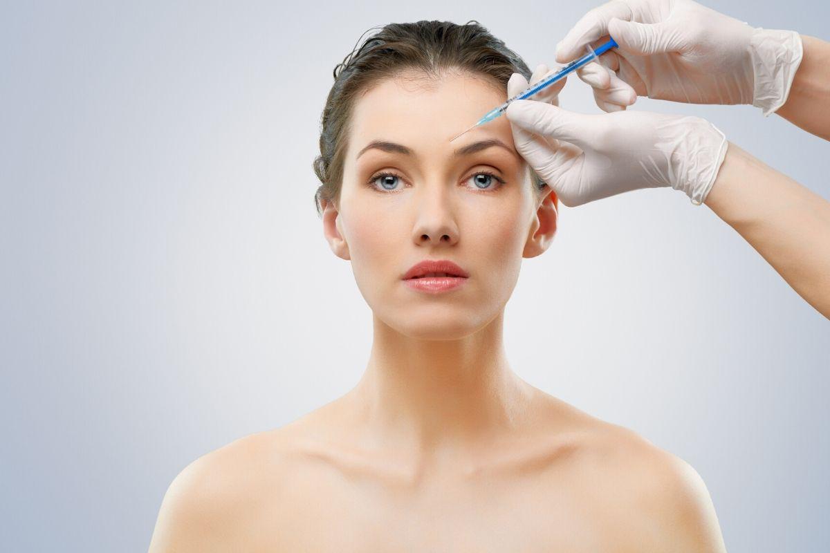 A woman having a botox injection