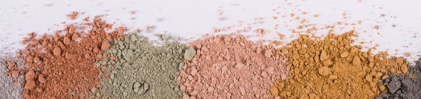Samples of kaolin clay in different colors.