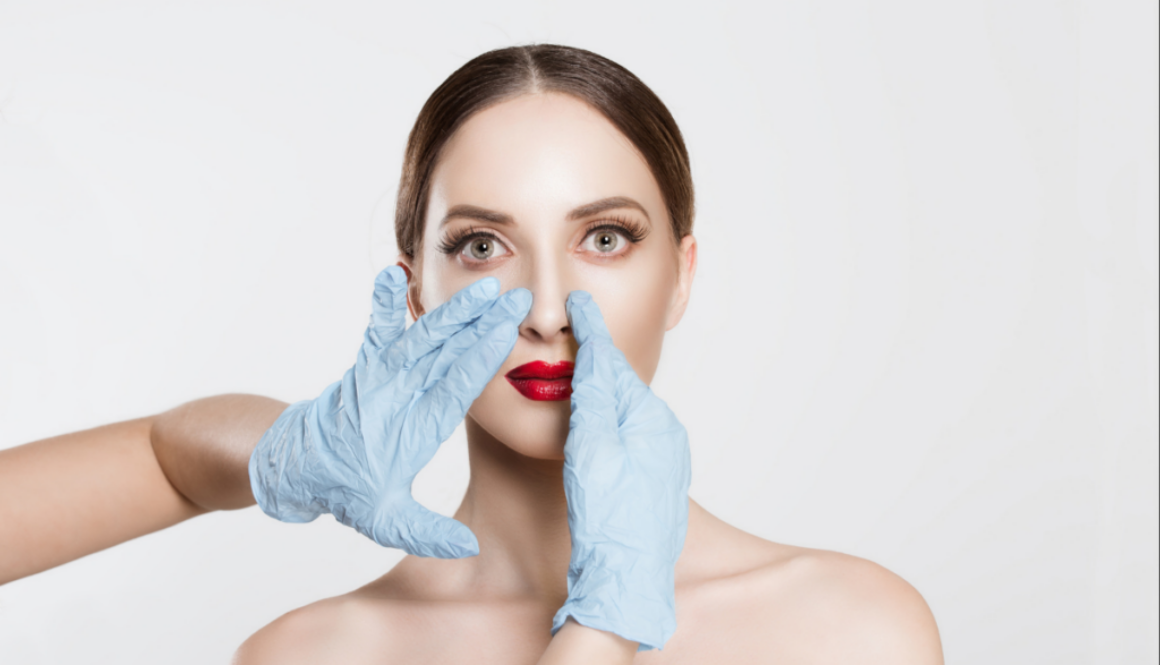 A picture of a woman on the process of rhinoplasty at the spa in florida