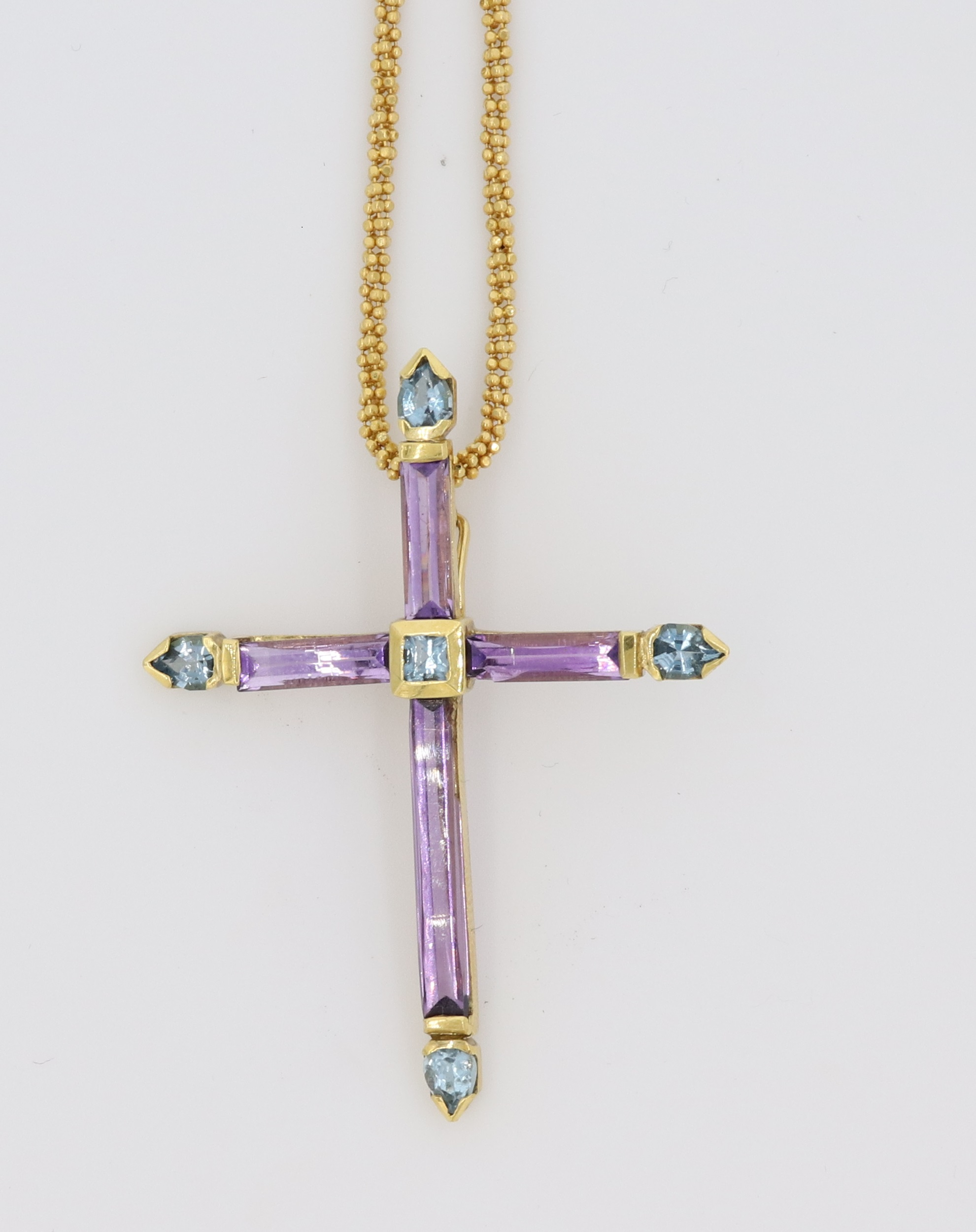 Amethyst And Aqua Marine Cross Pendant
