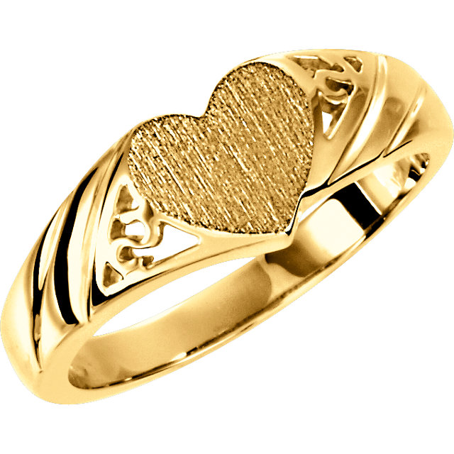 14K Yellow Heart Signet Ring