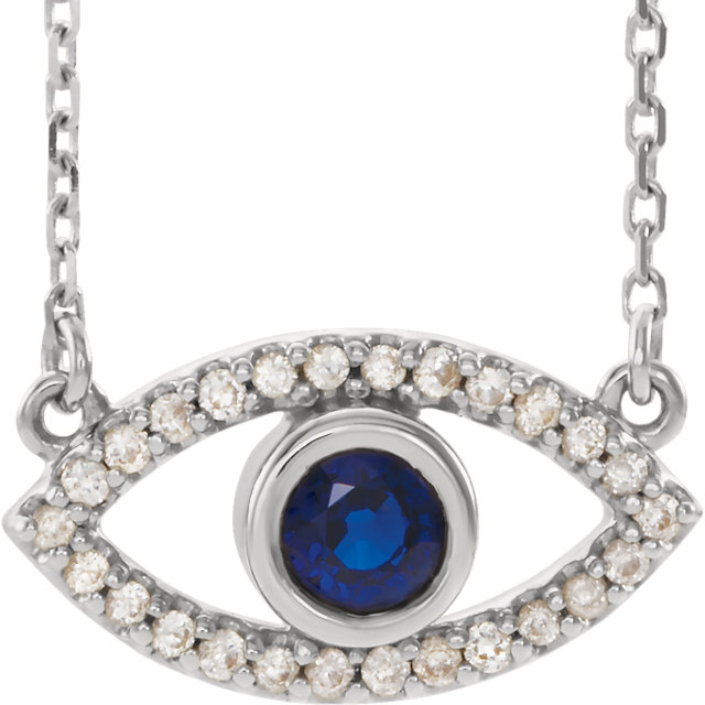 14K White Blue Sapphire Evil Eye 18″ Necklace