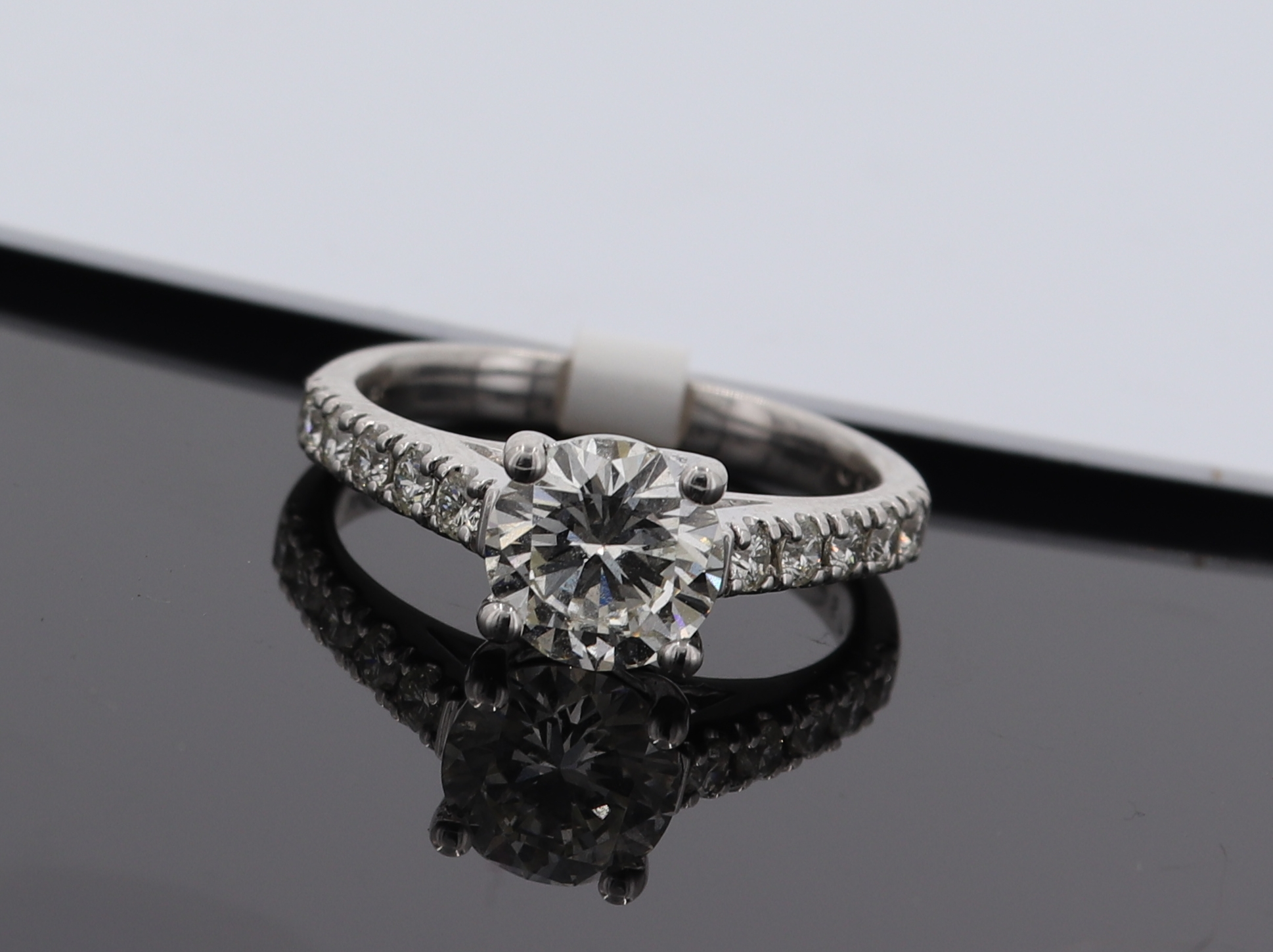 1.34 CT 14K White Gold Diamond Engagement Ring