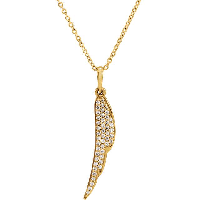 14K Yellow 1/5 CTW Diamond Feather 16-18″ Necklace
