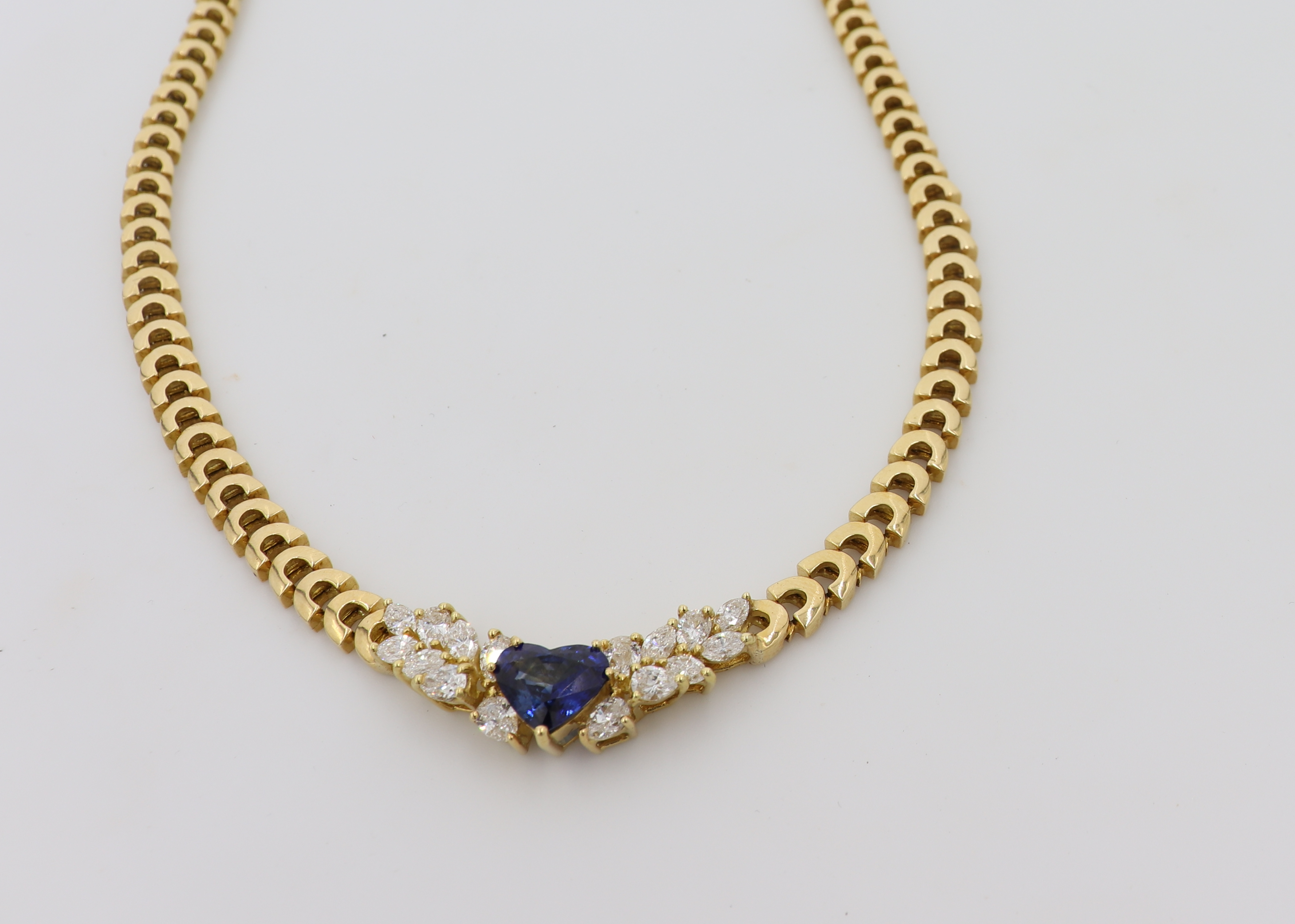 18K Yellow Gold, Sapphire Heart And Diamond Necklace
