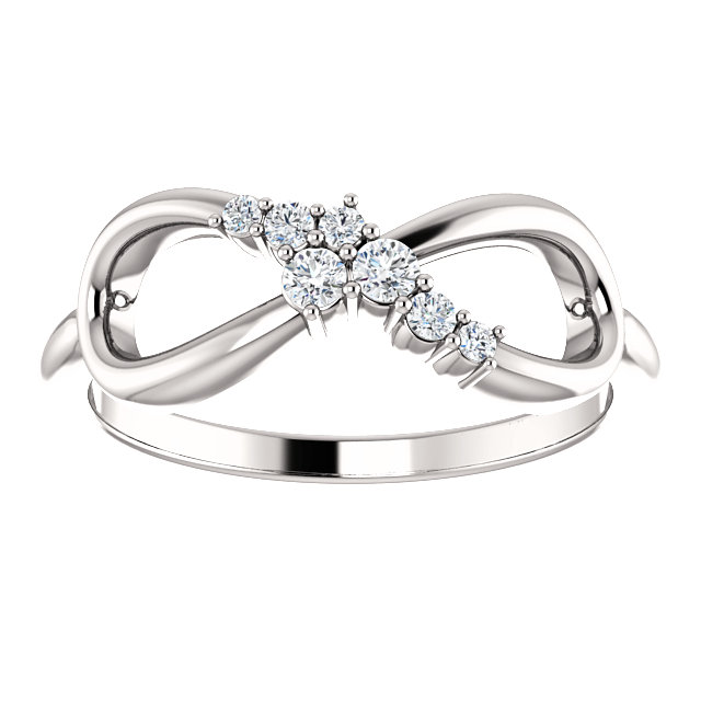 14K White 1/8 CTW Diamond Infinity-Inspired Ring