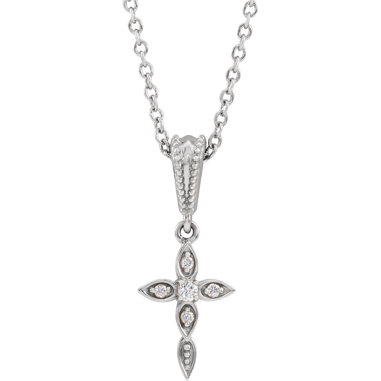 14K White .03 CTW Diamond Petite Vintage-Inspired 16-18″ Cross Necklace