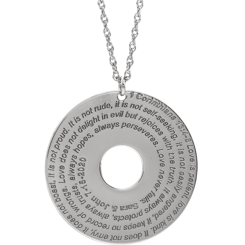 10K White Corinthians 13:4-8 Verse Disc Necklace