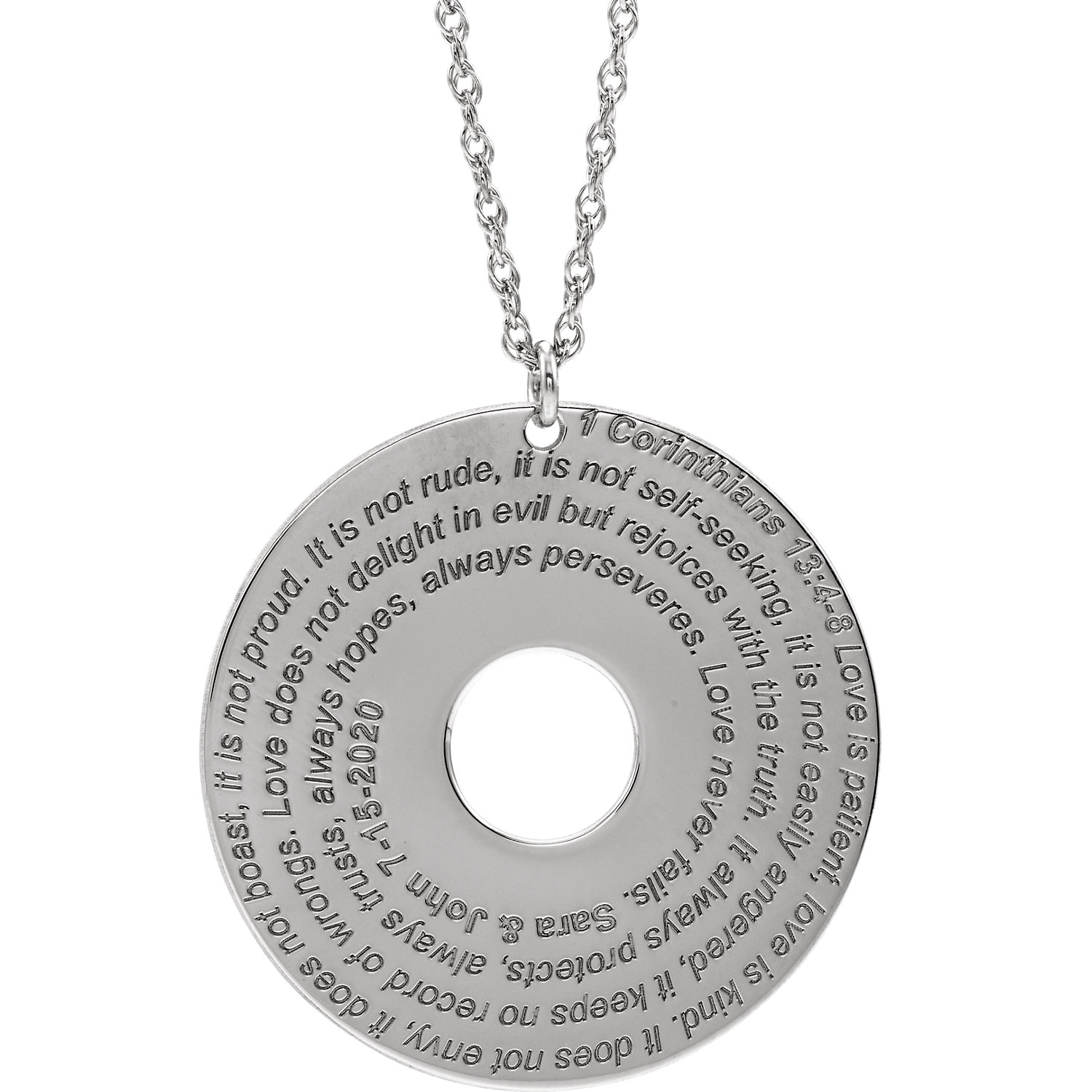 10K White Corinthians 13:4-8 Verse Disc Necklace