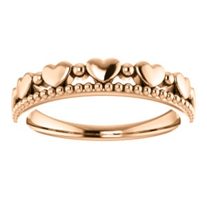 14K Rose Stackable Beaded Heart Ring